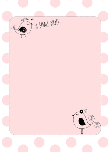 pastel pink with polka dots and cute bird sketches note pad