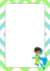 blue green super hero with cape A5 note pad