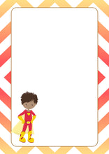 yellow red super hero with cape A5 note pad