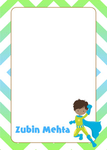 blue green super hero with cape A5 note pad personalised
