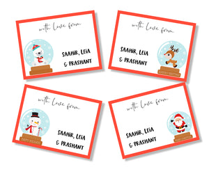 set of 4 xmas christmas cards with snow globes
