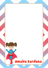blue red super hero girl with cape A5 note pad personalised