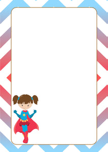 blue red super hero girl with cape A5 note pad