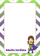 blue green super hero girl with cape A5 note pad personalised
