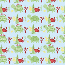 personalised wrapping paper for kids with cute green turtle design label shabel