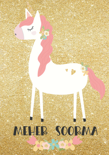 Personalised Note Book -  Unicorn Glitter