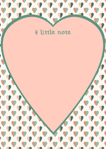 peach heart note pad with a little note message