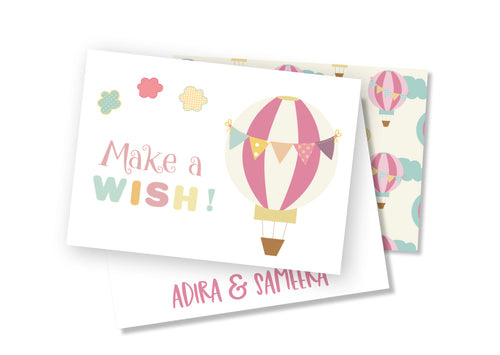 Personalised Folded Card - Air Balloon