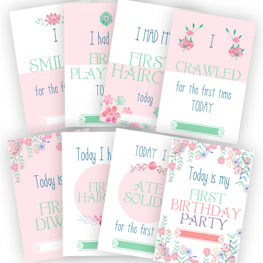 pretty floral pink baby milestone cards