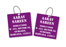 metallic bag tags  in purple with personalised information