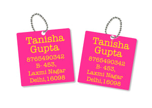 metallic bag tags  in hot pink with personalised information