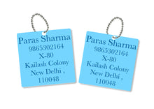 metallic bag tags in blue with personalised information