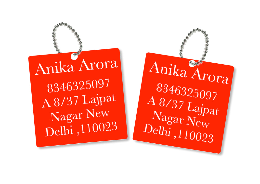metallic bag tags  in red with personalised information