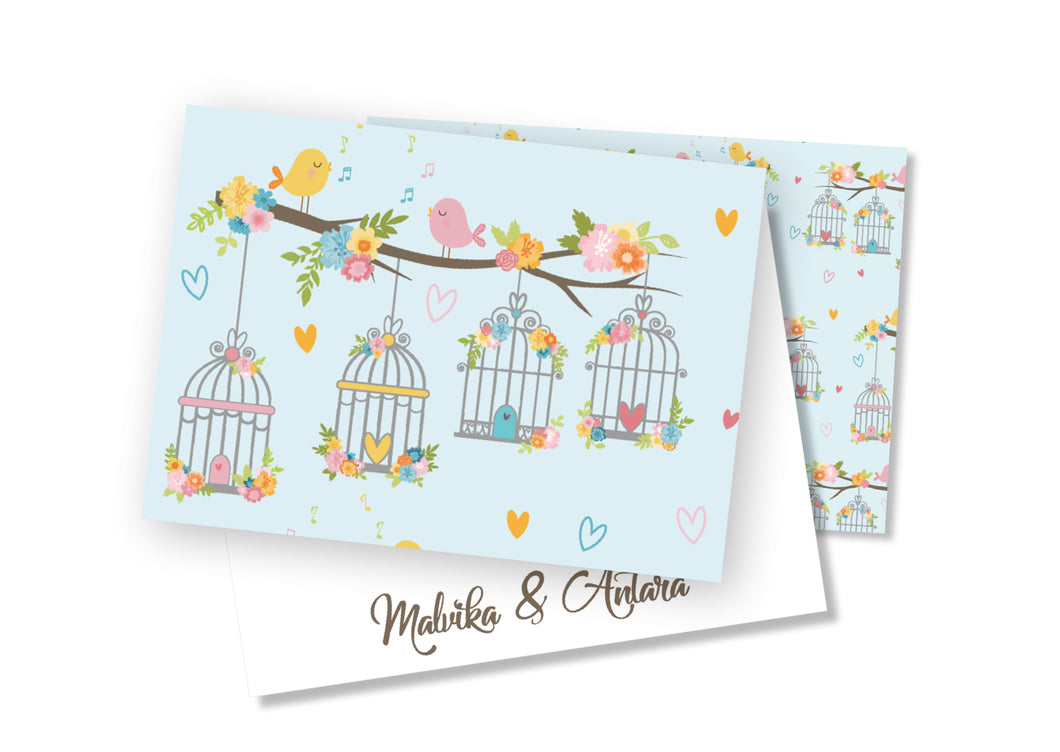 Personalised Folded Card - Bird Cage