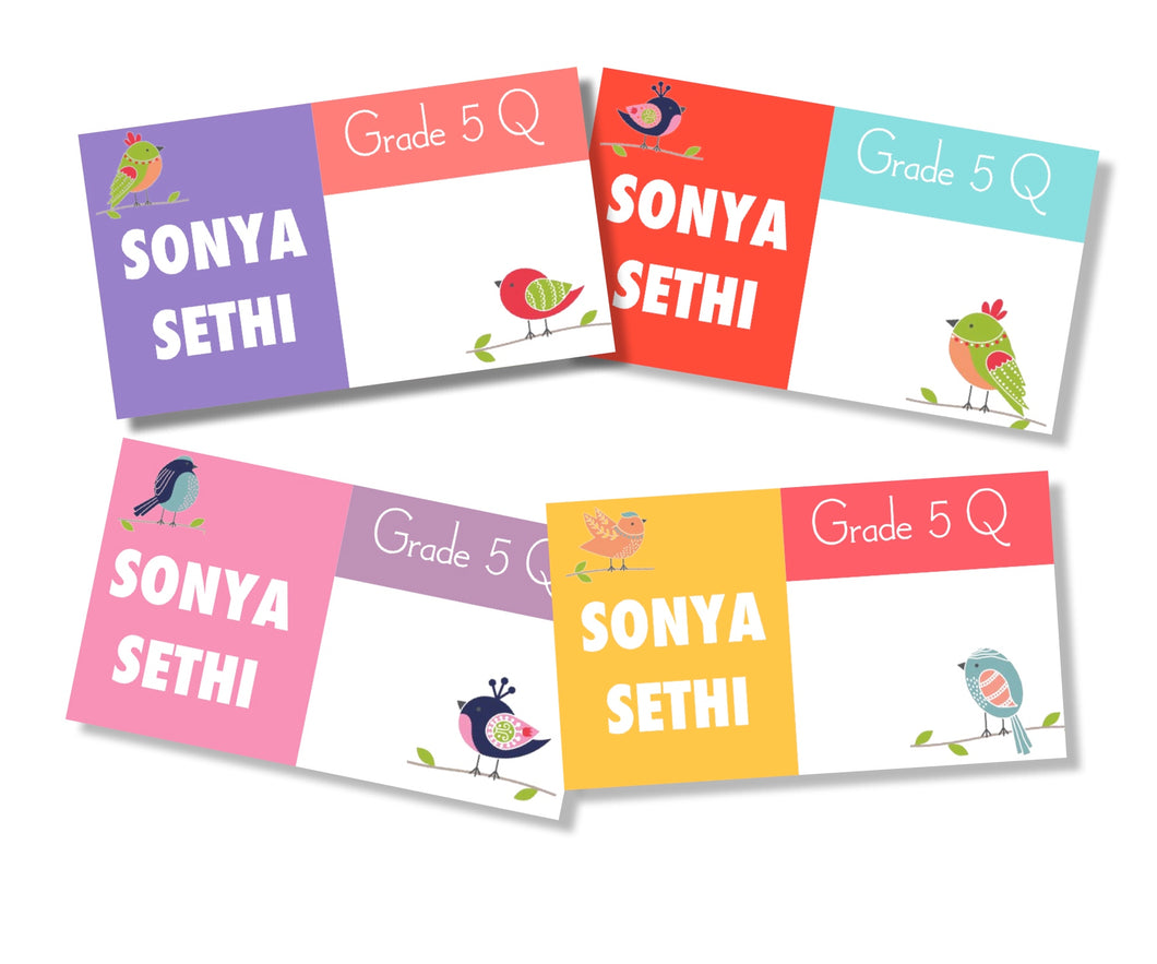pretty birds book labels for kids