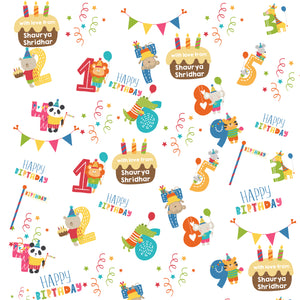 cute animals with numbers in a personalised wrapping paper from label shabel