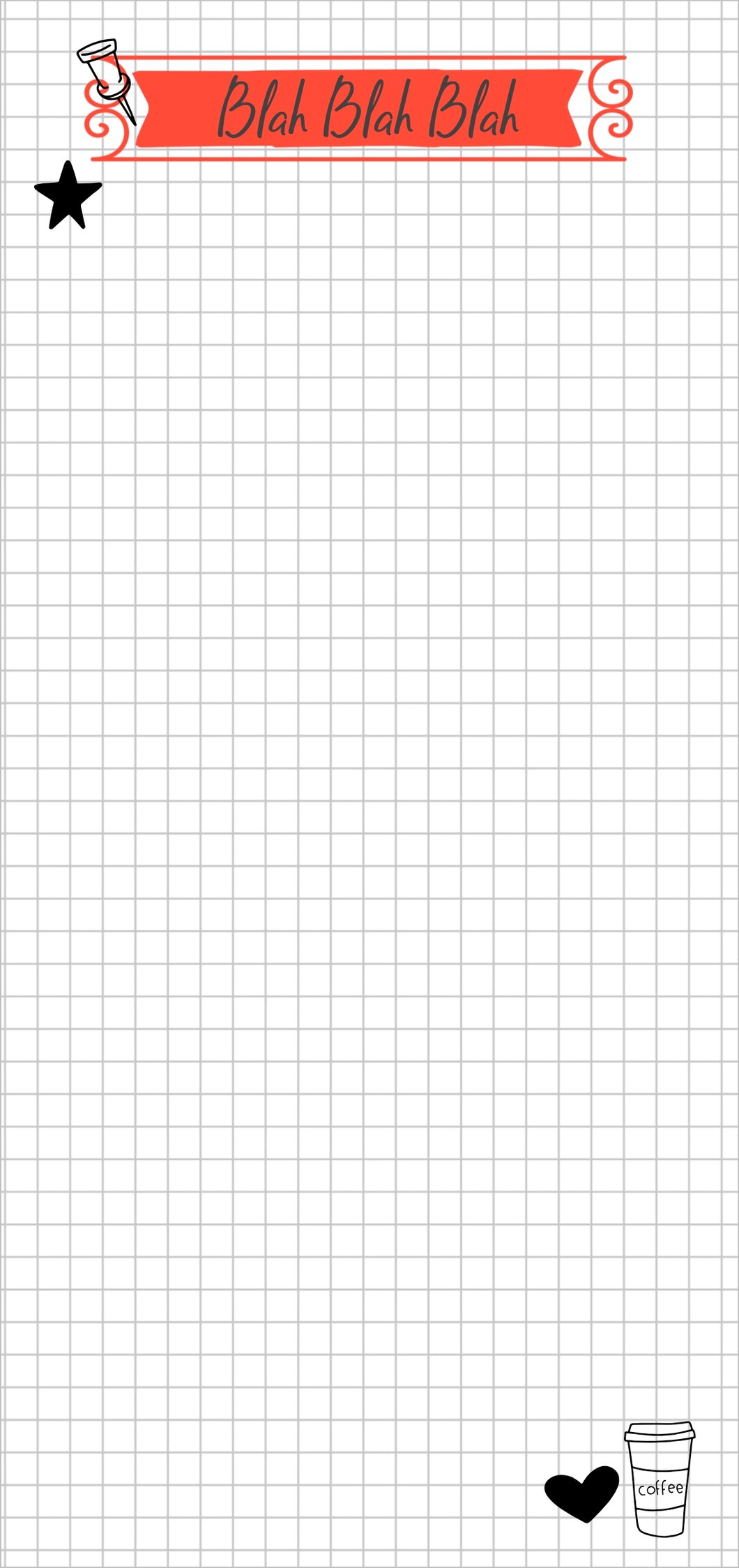 note pad for lists with graph background