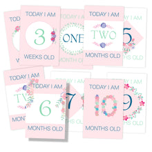 pretty floral pink baby milestone first months cards