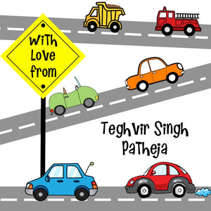 gift stickers for kids with transport vehicles on the road