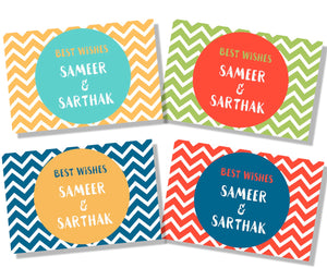 Set of 4 gift labels with chevron print back ground bold colours green red blue