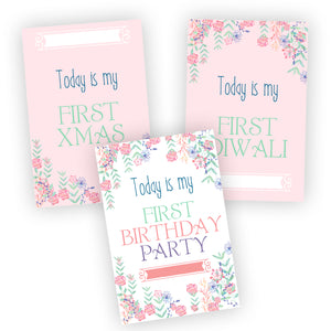 pretty floral pink baby milestone first festivals cards