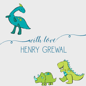 gift labels with blue green dinosaurs
