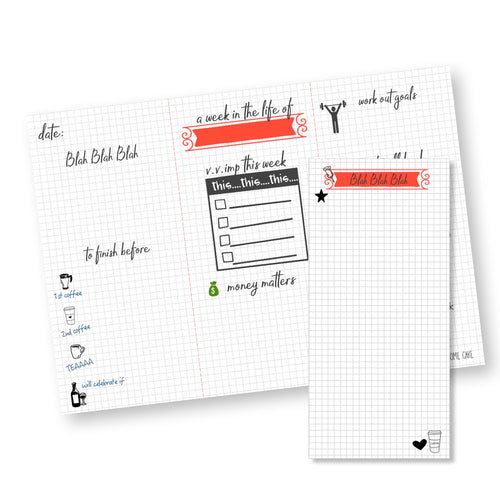 doodle design on graph paper  weekly planner in grey and orange from label Shabel