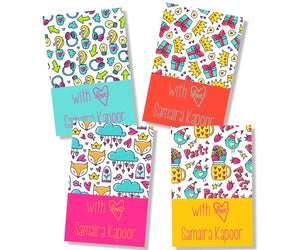 set of gift cards in four bold colours with colourful doodle art for girls