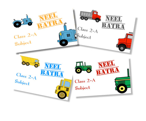 tractor wheels design book labels for kids