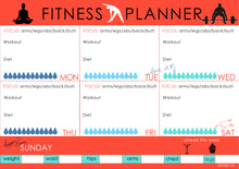 weekly fitness planner with water intake chart from label Shabel