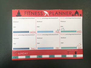 Weekly exercise work out and fitness planner in red white black and blue label Shabel