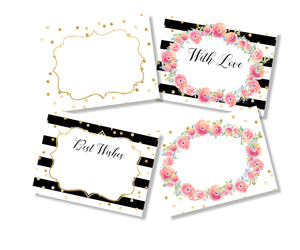 Set of gift labels in black white and pink designs