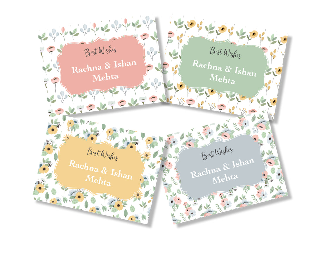 set of 4 gift cards in pastel floral hues from labelshabel