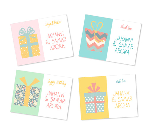 set of 4 gift labels with wrapped gifts designs in pastel hues labelshabel