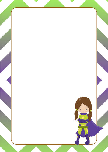 blue green super hero girl with cape A5 note pad