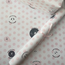 pink and grey polka dots with birds persoanlised wrapping paper by label shabel