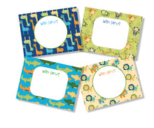 personalised gift cards for kids jungle animals in bold blues and greens design