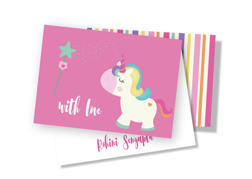 Personalised Folded Card - Lil Unicorn