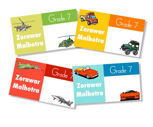 cars and planes book labels for kids