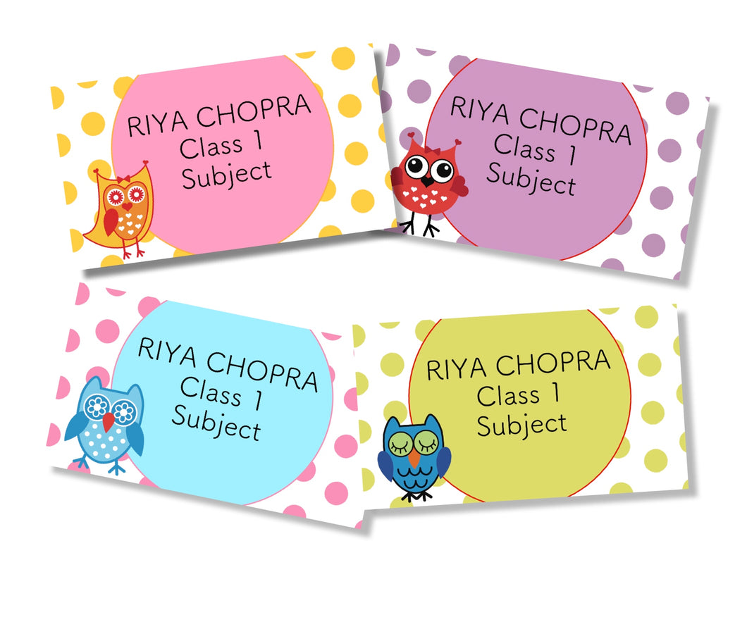 owl polka dot design book labels