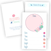 pretty floral pink baby milestone cards set