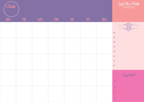 undated monthly planner in pink shades