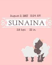pink baby name nursery wall art with baby and mama sheep