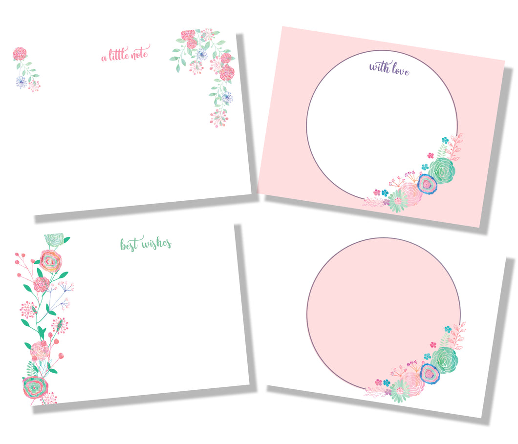Pastel Pink and aqua flowers fit cards set of 4