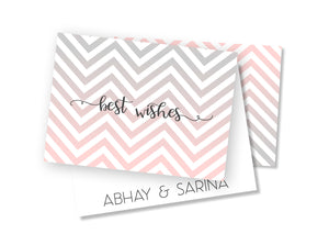 Personalised Folded Card - Pink Chevron