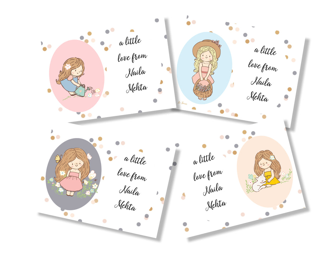 a set of 4 personalised gift cards with cute girl design from label shabel