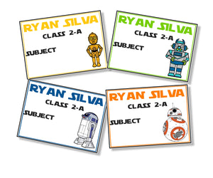 Star Wars robots school book labels