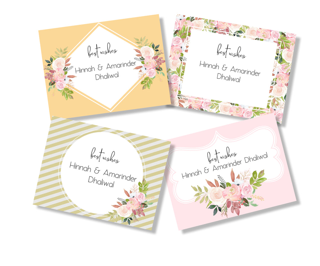 floral gift cards set in pink green mango with roses