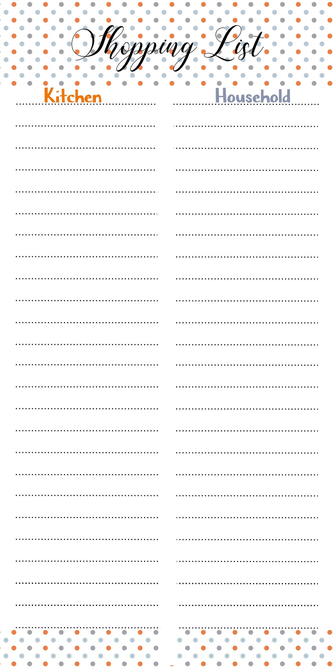 Shopping list pad with separate section for groceries and household items label shabel
