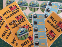 waterproof name labels for kids in train engines designs